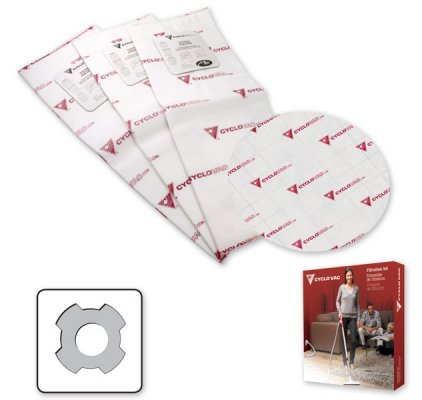 3 electrostatic filter bags and 1 round Cyclofiltre (4 notches)
