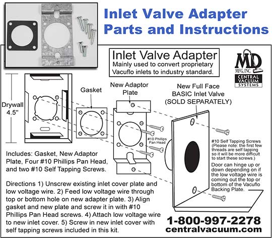 Inlet Adapter Kit (for proprietary Vacuflo valves)