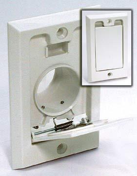 Central Vacuum Inlet, Square Door, PVC